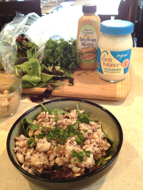 Rice and Bean Salad Over Spring Mix with Parsley